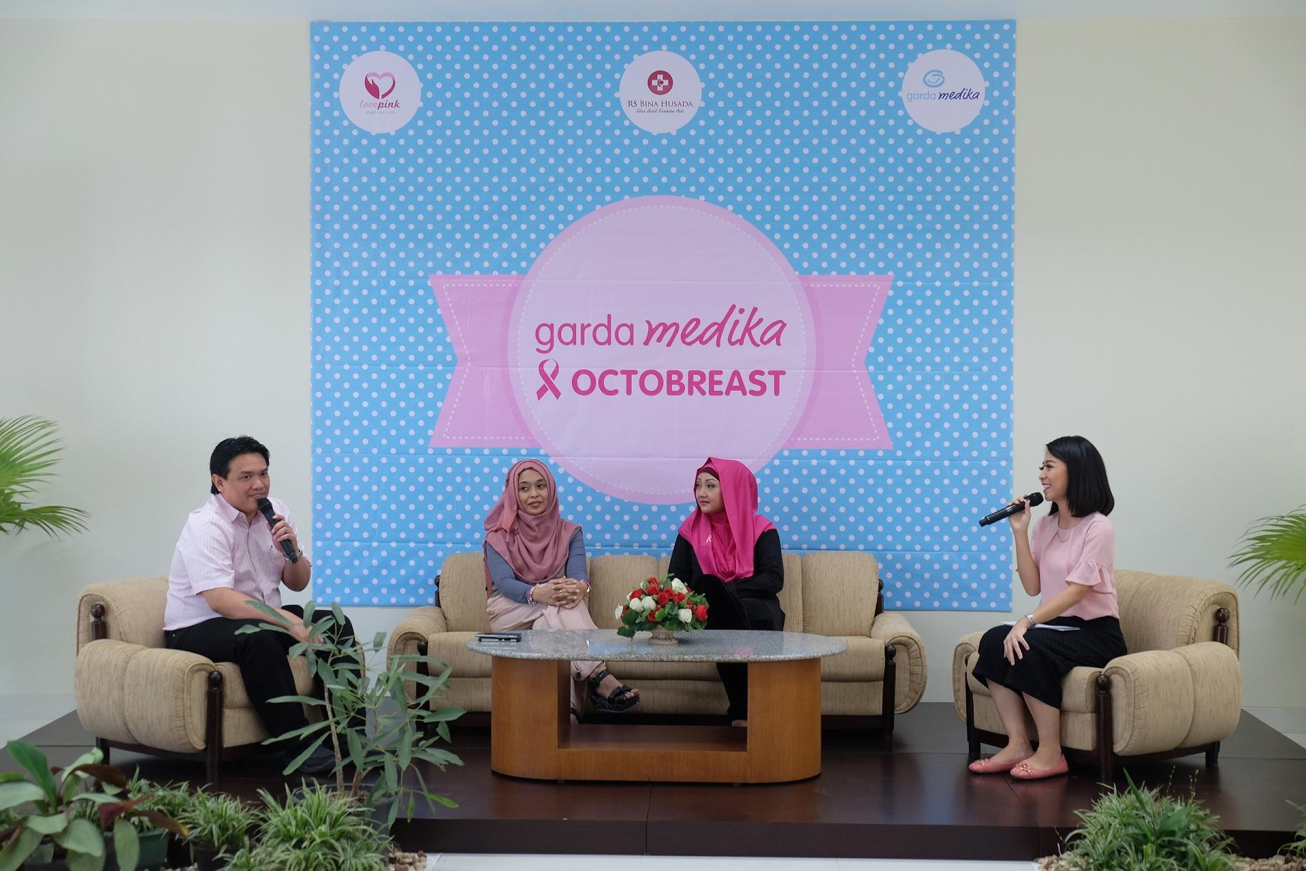Dokter onkologi rumah sakit terkait dan survivor kanker payudara dari Lovepink menjadi narasumber seminar