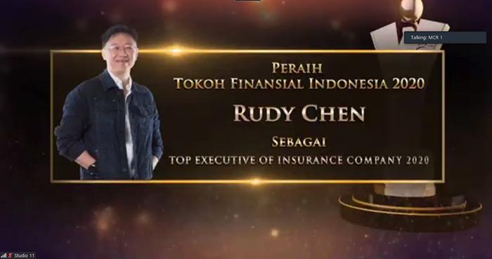 CEO Asuransi Astra Rudy Chen menjadi peraih Tokoh Finansial Indonesia 2020 sebagai Top Executive of Insurance Company yang diadakan secara virtual oleh Majalah Investor dan Berita Satu News Channel.