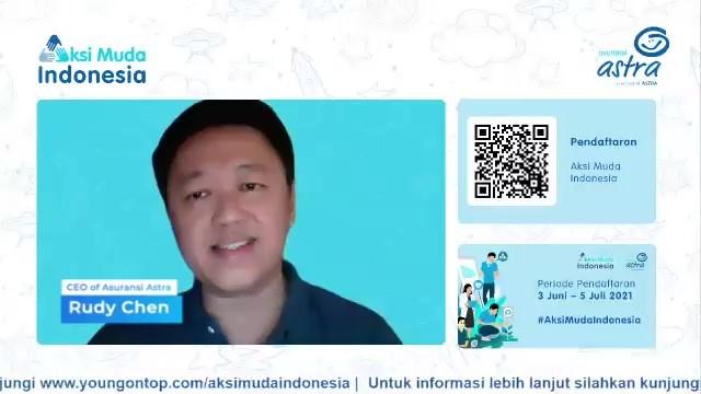 CEO Asuransi Astra, Rudy Chen memberikan motivasi kepada mahasiswa saat Kick Off #AksiMudaIndonesia