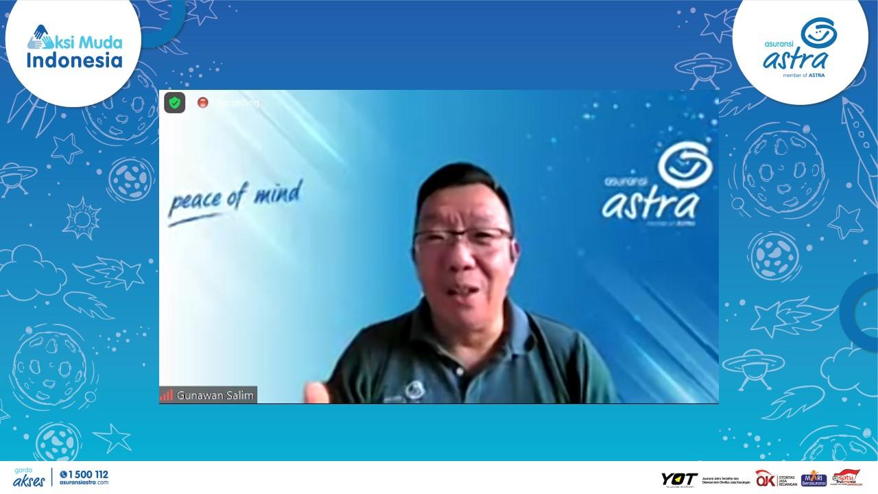 Gunawan Salim, Chief Marketing Officer – Retail Business Asuransi Astra menyampaikan harapannya kepada 12 finalis AksiMudaIndonesia