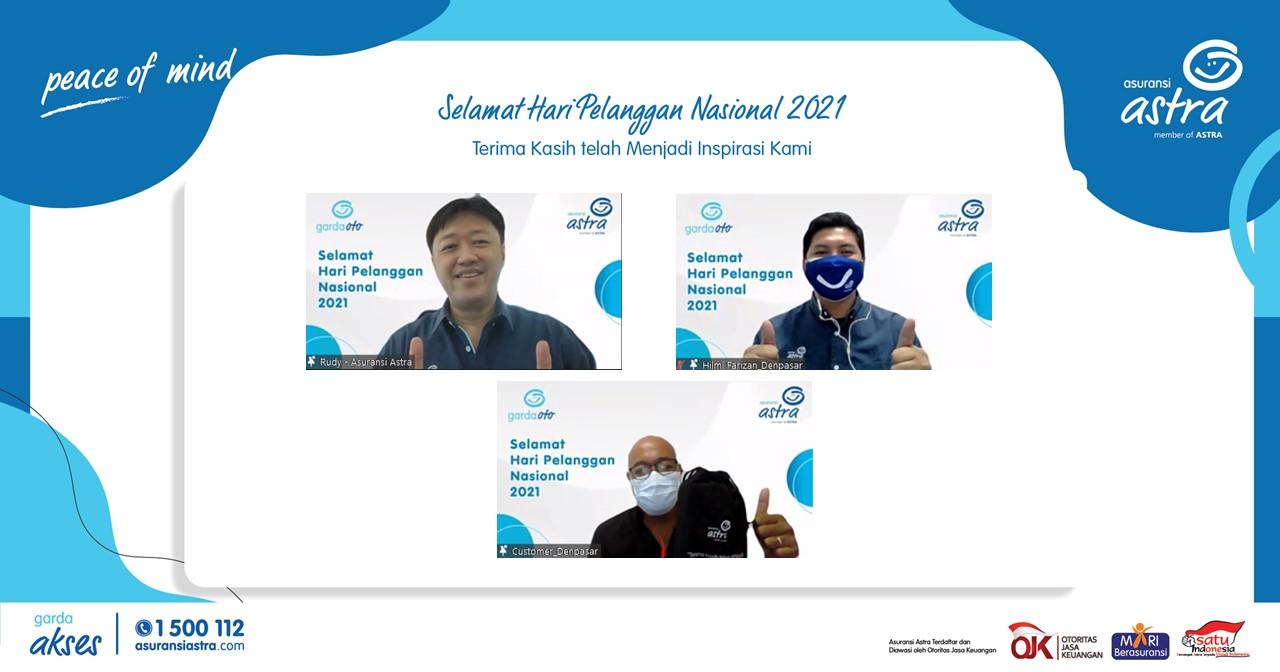 Rudy Chen, CEO Asuransi Astra melakukan kunjungan virtual untuk berkomunikasi langsung dengan pelanggan yang sedang berkunjung ke Kantor Cabang Surabaya